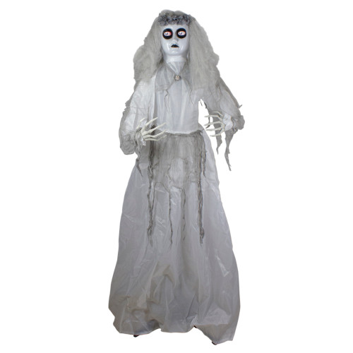 6' Lighted and Animated Ghost Bride Halloween Decoration - IMAGE 1