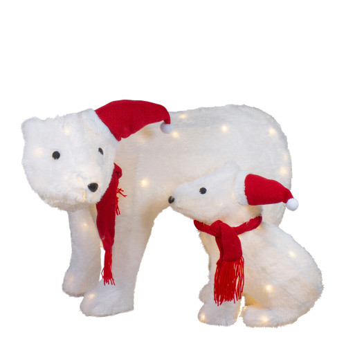 Set of 2 LED Lighted Chenille Polar Bears Outdoor Christmas Decorations - IMAGE 1