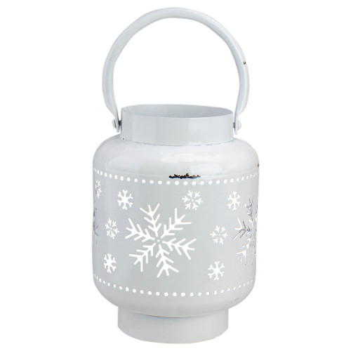 "7"" White Snowflake Cutout Christmas Candle Lantern - IMAGE 1"