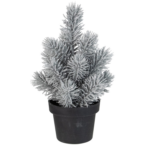 "8.5"" Silver Potted Glittered Artificial Mini Pine Christmas Tree - Unlit - IMAGE 1"