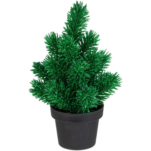 8.5in Green Potted Glittered Artificial Pine Christmas Tree - Unlit - IMAGE 1