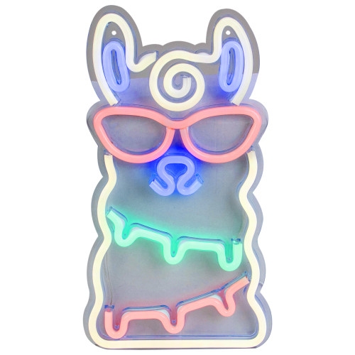 """15"""" Groovy White Alpaca with Red Sunglasses LED Lighted Wall Sign - IMAGE 1"""