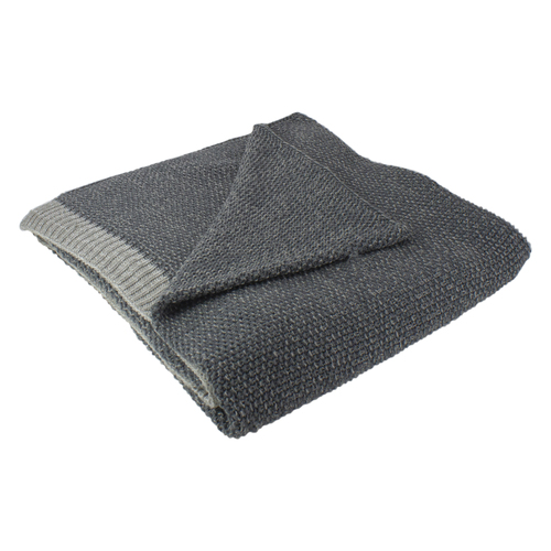 "Gray Knit Rectangular Throw Blanket 50"" x 60"" - IMAGE 1"