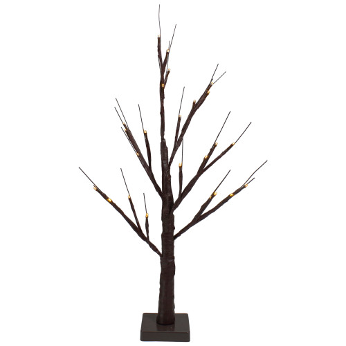 """24"""" Lighted Brown Birch Twig Artificial Christmas Tree - Warm White LED Lights - IMAGE 1"""
