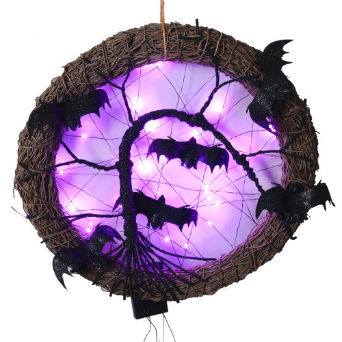 "15"" LED Lighted Rattan with Bats Halloween Wreath - Purple Lights - IMAGE 1"