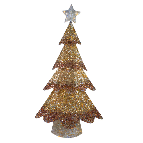 46-Inch LED Lighted Bronze Gold Mesh Christmas Tree Outdoor Decoration - IMAGE 1