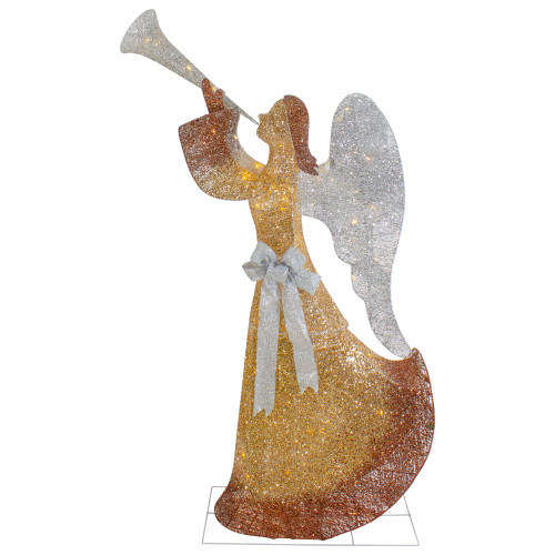 """63"""" Gold LED Lighted Angel with Trumpet Outdoor Christmas Decoration - IMAGE 1"""