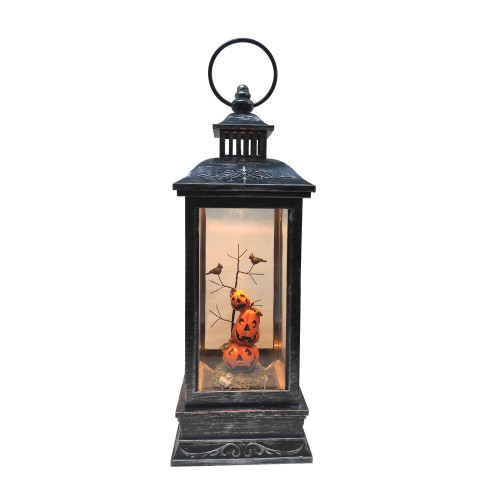 "11"" LED Lighted Halloween Lantern with Stacked Pumpkins - IMAGE 1"