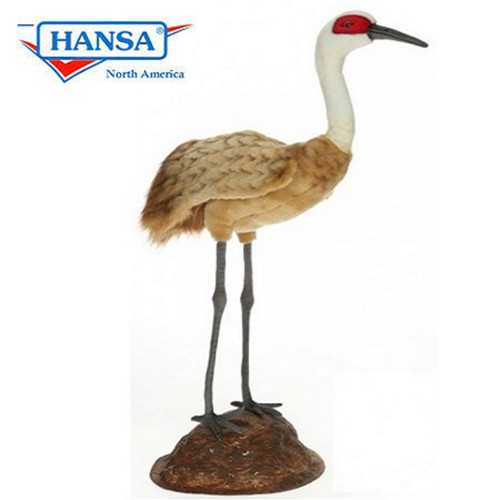 30'' Brown and White Plush Standing Crane Figurine - IMAGE 1