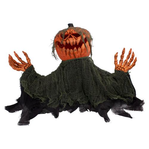 "30"" Black and Orange Animated Pumpkin Halloween Decoration - IMAGE 1"