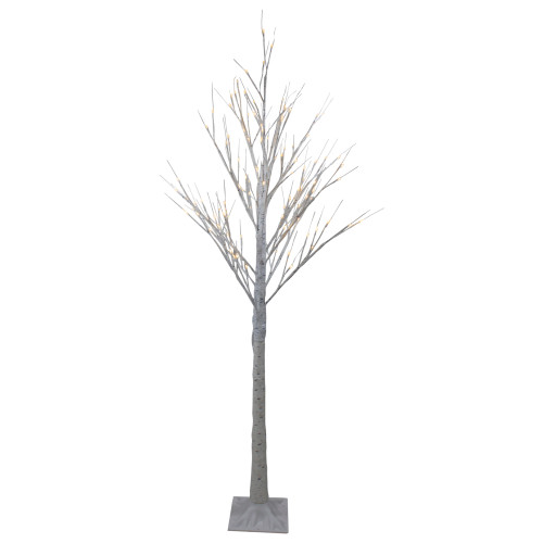6' Lighted Christmas White Birch Twig Tree Outdoor Decoration - Warm White LED Lights - IMAGE 1