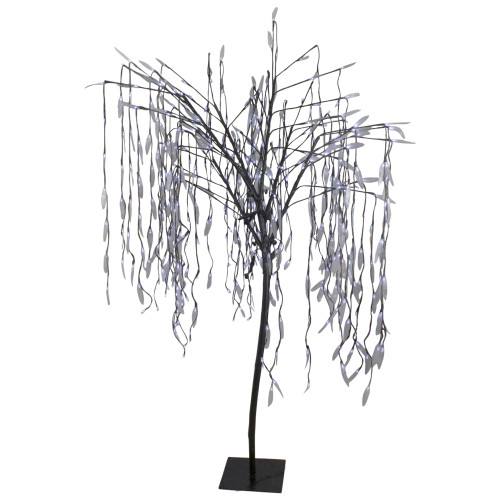 6' Lighted Christmas Willow Tree Outdoor Decoration - Pure White LED Lights - IMAGE 1