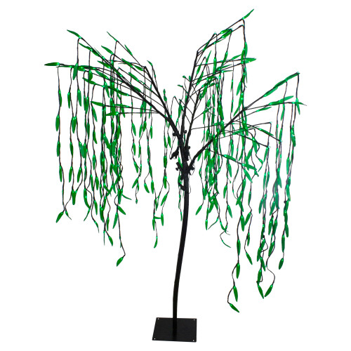 6' Lighted Christmas Willow Tree Outdoor Decoration - Green LED Lights - IMAGE 1
