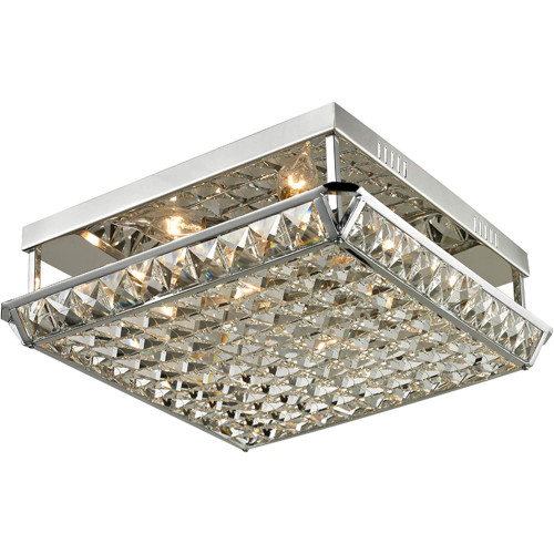 """15"""" Clear Solid Cut Handcrafted Ibiza Crystal Flush Mount - IMAGE 1"""