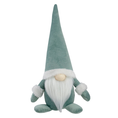 "17"" Green and White Sitting Gnome Christmas Tabletop Decor - IMAGE 1"
