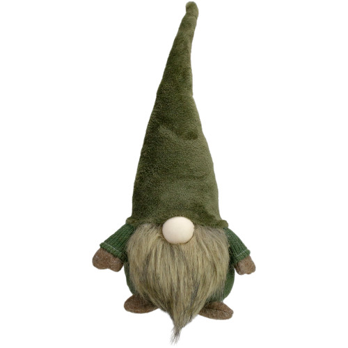 "17"" Green and Brown Sitting Gnome Christmas Tabletop Decor - IMAGE 1"