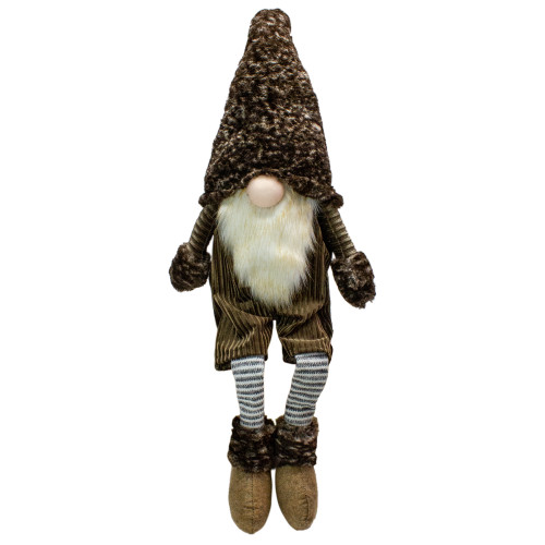 "34"" Brown and Gray Sitting Christmas Gnome with Striped dangling Legs - IMAGE 1"