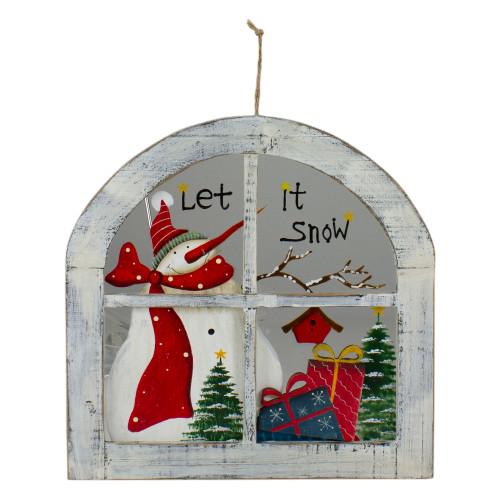 "White Rustic ""Let It Snow"" Snowman Glass Window Scene Christmas Wall Decor - IMAGE 1"