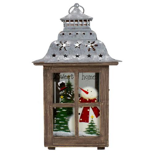 "16.5"" Rustic Wooden Snowman Holiday Scene Christmas Pillar Candle Lantern - IMAGE 1"