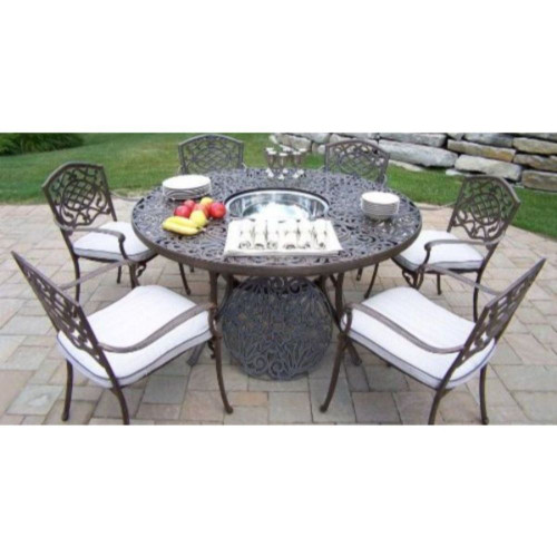Mississippi Cast Aluminum 60 Inch table, 7pc Dining Set with Ice Bucket and Cushions - IMAGE 1