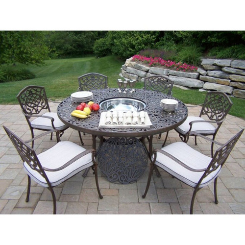 Mississippi Cast Aluminum 60 Inch table, 7pc Dining Set with Ice Bucket - IMAGE 1