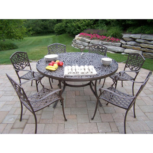 Mississippi Cast Aluminum 60 Inch table, 7pc Dining Set - IMAGE 1