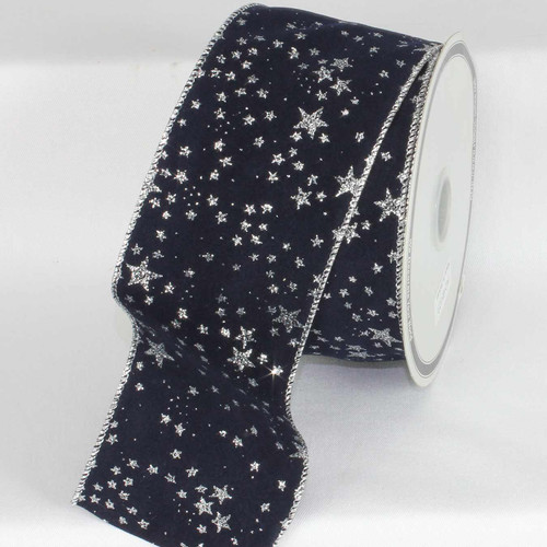 """Navy Blue with Silver Stars Wired Craft Ribbon 3"""" x 20 Yards - IMAGE 1"""