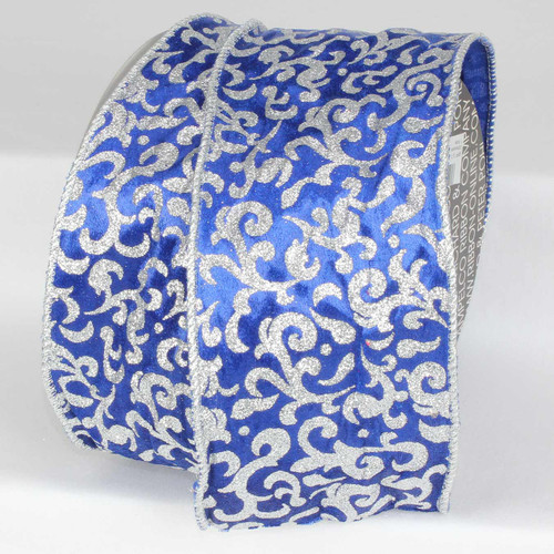 Navy Velvet & Silver Glitter Wire Cord Edge Decorative Ribbon 5 inch by 20 yards - IMAGE 1