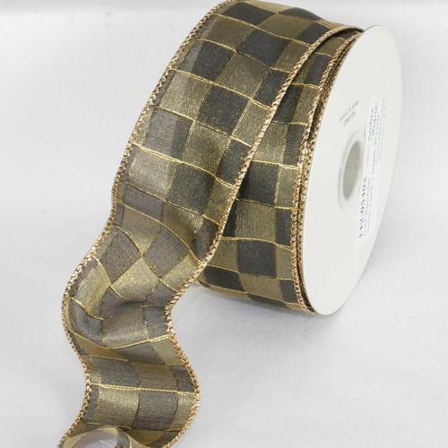 "Amber Madrid Gold Wired Craft Ribbon 2"" x 20 Yards - IMAGE 1"