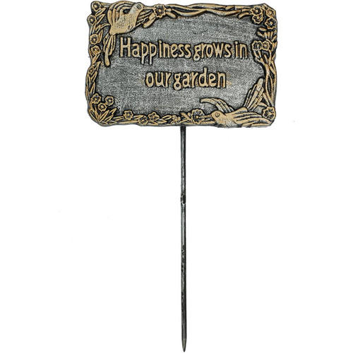"""15.5"""" Black and Gold 'Happiness Grows In Our Garden' Garden Marker - IMAGE 1"""