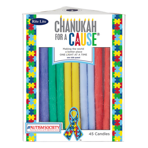 """Club Pack of 45 Vibrantly Colored 'Hanukkah for a Cause' Autism Candles 5"""" - IMAGE 1"""