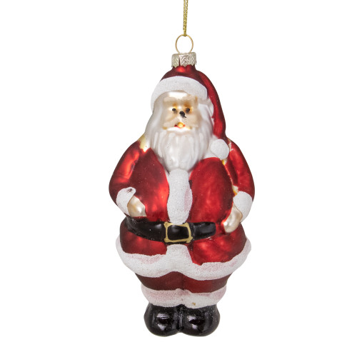 """5"""" Traditional Red and White Santa Hanging Glass Christmas Ornament - IMAGE 1"""