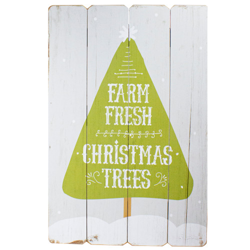 """24"""" Gray and Green Farm Fresh Christmas Trees Wooden Hanging Wall Sign - IMAGE 1"""
