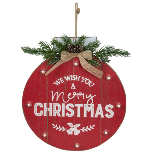 """13.75"""" Battery Operated Red Ornament """"We Wish You a Merry Christmas"""" Wall Sign - IMAGE 1"""