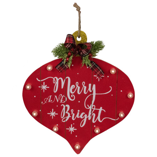 """13.75-Inch B/O Red and White Onion Ornament """"Merry And Bright"""" Christmas Wall Sign - IMAGE 1"""