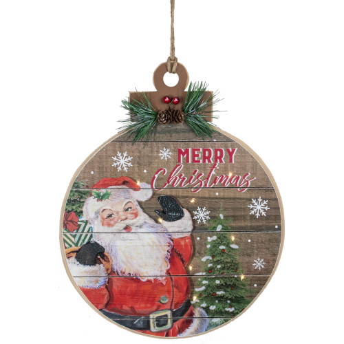 """15"""" B/O Lighted Ball Ornament with Santa Claus Wooden Christmas Wall Sign - IMAGE 1"""