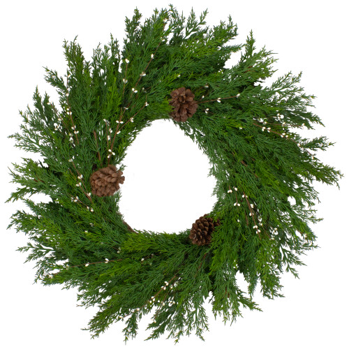 """32"""" Realistic Cedar with Pine Cones and White Berries Artificial Christmas Wreath - Unlit - IMAGE 1"""