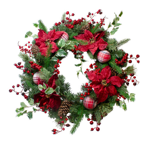 Poinsettias and Red Berries Artificial Christmas Wreath - 30-Inch, Unlit - IMAGE 1