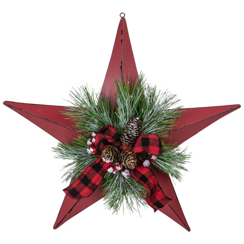 """17"""" Red distressed 5 point Christmas Star With Plaid Ribbon with Artificial Pine - IMAGE 1"""