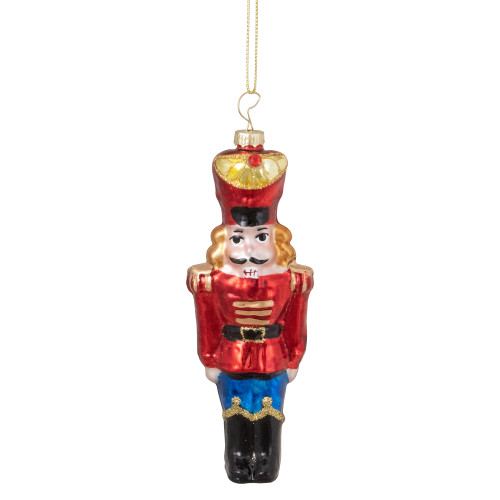 """5.5"""" Shiny Red Nutcracker Soldier Hanging Glass Christmas Ornament - IMAGE 1"""