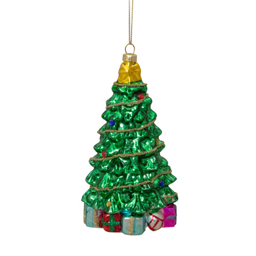 """5.5"""" Shiny Green Decorated Holiday Tree Hanging Glass Christmas Ornament - IMAGE 1"""