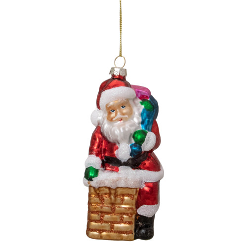 "5"" Santa Down the Chimney Hanging Glass Christmas Ornament - IMAGE 1"