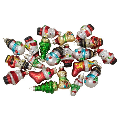 "Set of 20 Holiday Figurines Hanging Glass Christmas Ornaments 1.75"" - IMAGE 1"