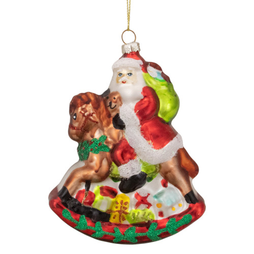 """4"""" Santa on a Rocking Horse Hanging Glass Christmas Ornament - IMAGE 1"""