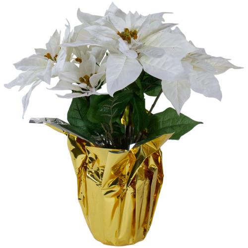 "17"" Potted White Artificial Poinsettia Christmas Arrangement - IMAGE 1"