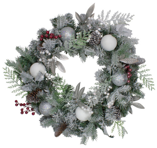 Frosted Cedar and Berries Artificial Christmas Wreath - 24-Inch, Unlit - IMAGE 1
