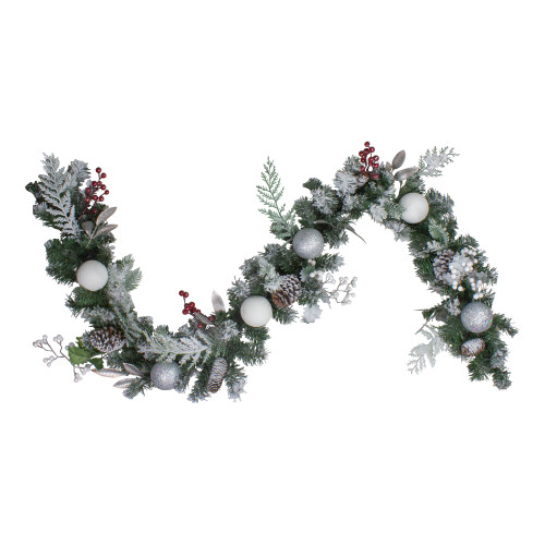 6' Frosted Cedar and Berries Artificial Christmas Garland - Unlit - IMAGE 1