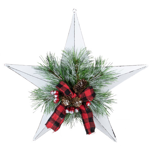 """17"""" White 5 point Christmas Star With Plaid Ribbon with Artificial Pine - IMAGE 1"""