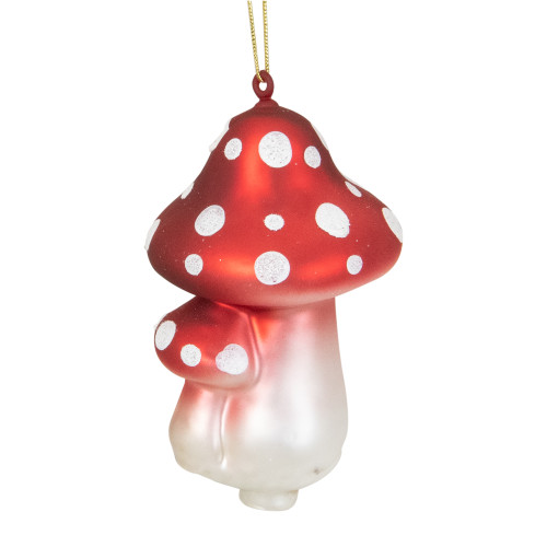 "4"" Red and White Amanita Mushroom Hanging Glass Christmas Ornament - IMAGE 1"