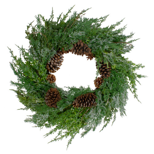 Frosted Cedar and Pine Cone Artificial Christmas Wreath - 26-Inch, Unlit - IMAGE 1